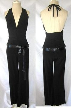 Vtg 80s Draped Plunging V Neck Ruched Halter Disco Party Club Jumpsuit S