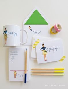 Personal Illustrated Stationery via Ashley Brooke Designs; LOVE her work and the layout here is fantastic.