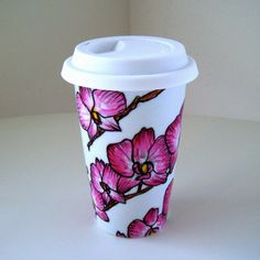Ceramic Travel Mugs Pink Orchids Tropical Painted by sewZinski, $35.00