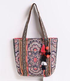 Bolsa feminina sacola em tapeçaria