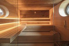 Sauna in the bathroom: cozy and warm Diy Sauna, Pool Indoor, Indoor Swimming Pools, Sauna Lights, Sauna Steam Room, Sauna Design, Hot Tub Garden, Spa Rooms, Modern Pools