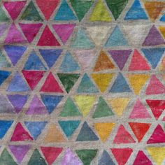 Inspired by Sonia Delaunay--Hand stamped #Triangles on #Linen #CharlotteHamilton