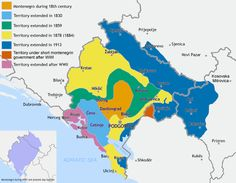 Montenegro's territorial expansion from 1830-1944 compared to its modern borders