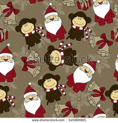 Cute Christmas Seamless Pattern Background - Vector Illustration, flat style. Endless texture. Use for wallpaper, textiles, pattern fills, web page background - stock vector