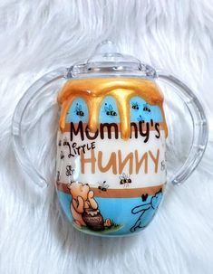 Your place to buy and sell all things handmade honey drip winnie the pooh tumbler sippy cup Diy Tumblers, Custom Tumblers, Tumblr Cup, Kids Tumbler, Cricut Craft Room, Custom Cups, Tumbler Designs, Glitter Cups, Personalized Cups