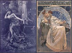 Alphonse Mucha - Princezna Hyacinta 1911    Pictured alongside Mucha's own black & white photograph study for the painting Princezna Hyacinta (Princess Hyacinth).    The lithograph was printed to advertise Princezna Hyacinta, a fairy tale ballet and pantomime by Ladislav Novák and Oskar Nedbal an acclaimed Czech violinist.