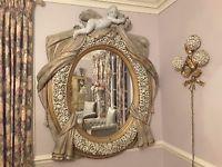Huge Vintage Italian Designed Mirror-Romantic Barbola Roses-Fabulous Top Cherub!