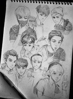 Exo members anime style ~not mine~ ========================= http://a-beautiful-black-pearl.tumblr.com/post/58343890673/krispy-donuts-preciousjongdae-exo-polariods