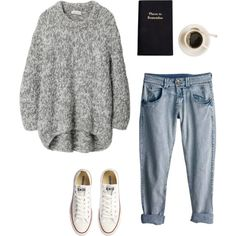 OVERSIZED SWEATER, CONVERSE ALL-STARS, AND JEANS.