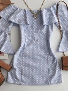blue and white polka dot dress with bell sleeves - New York City Fashion Dress Outfits, Casual Dresses, Girl Outfits, Short Dresses, Casual Outfits, Fashion Dresses, Cute Outfits, Cute Fashion, Girl Fashion