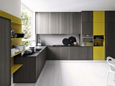 The Kalea kitchen is part of the Cesar Arrendamenti collection. It was designed by Gian Vittorio Plazzogna and it's a modern approach that breaks away Kitchen Dinning Room, Kitchen Living, Dining Area, Kitchen Showroom, Kitchen Interior, Kitchen Design, Kitchen Tops, Kitchen Pantry, Kitchen Cabinets