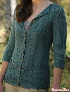 Лёгкий жакет спицами от Lorislav GR (Страна Мам). Knitting Paterns, Knitting Blogs, Lace Knitting, Knitting Designs, Knitting Stitches, Knit Crochet, Cardigan Design, Knit Cardigan Pattern, Cardigans For Women