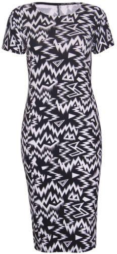 Damen Kleid Bedruckt Kurz Flügelärmel Stretch Passform Enganliegend Midi Kleid   eBay