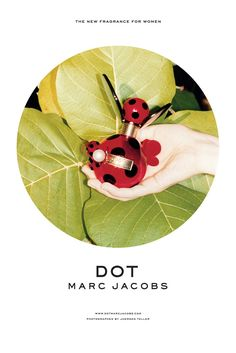 - Marc Jacobs Dot -  Even though Marc Jacobs is renowned for his playful and quirky bottles, this advertising campaign is very safe and minimal. The bottle represents a lady bird on a leaf. It is bordered by a circle, again linking to the dot idea, and minimal writing.