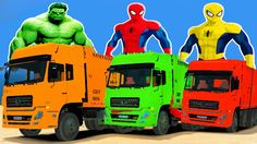 GARBAGE TRUCKS with SPIDERMAN COLORS Cartoon for Childrens & Nursery Rhy...