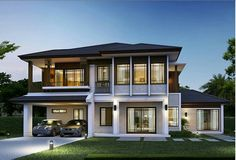 Bungalow House Design, House Front Design, Small House Design, Dream House Exterior, Dream House Plans, Modern House Plans, Minimal House Design, Zen House, Mediterranean Style Homes