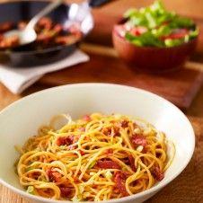 recept, knoflook, spaghetti, spekjes, sonja bakker