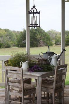 back porch white table