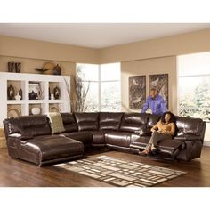 Exhilaration   Chocolate Reclining Sectional W/ Left Facing Chaise