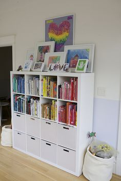 New Children Room Organization Ikea Book Storage Ideas Wall Bookshelves, Ikea Shelves, Ikea Expedit, Book Shelves, Kallax, Ikea Kids Storage, Book Storage, Art Storage, Storage Design