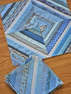 Sea Glass I laid 20 blocks for the String Quilt out on the floor and left them there for a few days Colchas Quilting, Scrappy Quilt Patterns, Scrappy Quilts, Easy Quilts, Mini Quilts, Machine Quilting, Blue Quilts, Quilting Tutorials, Quilting Projects