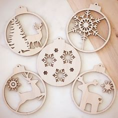 Set of 5 (various)-Christmas-Ornaments-Bauble-Wood-Laser cut-Engraving-Custom-Gift