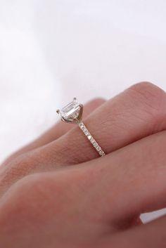 Emerald Diamond Engagement Ring with Thin Diamond Band Thin Diamond Band, Emerald Diamond, Emerald Cut Engagement, Diamond Engagement Rings, Jewelry, Jewlery, Jewerly, Schmuck, Jewels