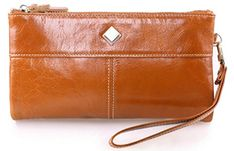 Xies Leather Womens Large Luxury Wax Genuine Leather Long Wallet Orange >>> Details can be found by clicking on the image.