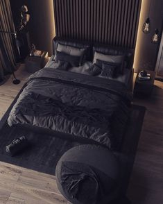 The classic elegant black colored bedroom never goes out of style. Tag a friend who loves dark bedroom? Black Bedroom Decor, Black Bedroom Design, Home Room Design, Master Bedroom Design, Home Decor Bedroom, Home Interior Design, Modern Interior, Loft Design, Bedroom Inspo