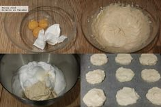 cloud bread o pan nube-Precalentar horno 150ºC. Separar las claras y yemas de 3 huevos. Batir yemas con 100 gr queso crema hasta obtener masa homogénea y suave. En un bol aparte batimos las claras a punto de nieve con 1/4 cdita bicarbonato de sodio. Mezclamos ambas masas con espátula con movimientos envolventes. puede prepararse salado (añadiendo romero, ajo picado, sal, pimienta o especias) o dulce (agregando cacao)Colocar hoja papel de hornear sobre bandeja y sobre ella repartimos 9…