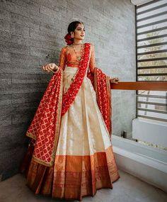 Half Saree Lehenga, Lehenga Saree Design, Lehnga Dress, Ghagra Saree, Bengali Saree, Indian Gowns Dresses, Indian Fashion Dresses, Indian Designer Outfits, Indian Designers