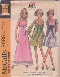 MOMSPatterns Vintage Sewing Patterns - McCall's 9686 Vintage 60's Sewing Pattern DREAMY Mod Scoop Neck Princess Seams Babydoll Cocktail Party Dress, Evening Maxi Gown, Tie Sash Belt Size 9/10