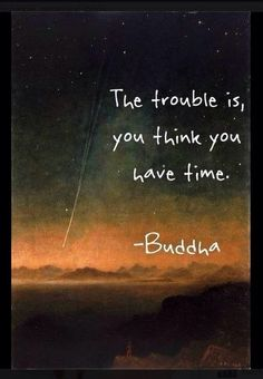 The trouble is you think you have time. -Buddha