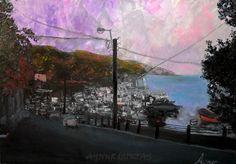 RUMELİ KAVAĞI <3 SARIYER <3 İSTANBUL  Rumeli Kavağı'nda bir Temmuz akşamında... 27-07-2013 tarihinde kendi çektiğim bir fotoğraftan...  From my photograpy 27- July - 2013  My oil paint. Oil on canvas Knife palette 35*50 Product: 04-05-2015 Tuval üzeri yağlıboya eserim... Spatula ile...