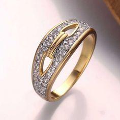 Anel Feminino Moda Oval Banhado a ouro Banhado a ouro rosa Liga Zircão Diário - LKN18KRGPR676-A-7