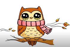 Cartoon Owl Drawing, Cute Owl Drawing, Owl Cartoon, Cute Kawaii Drawings, Easy Disney Drawings, Easy Animal Drawings, Easy Drawings For Kids, Drawing For Kids, Cute Kawaii Girl