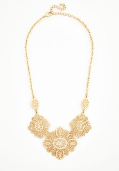 Filigree to the Brim Necklace - Solid, Boho, Statement, Gold, Exclusives, Gold, Vintage Inspired, 20s, French / Victorian