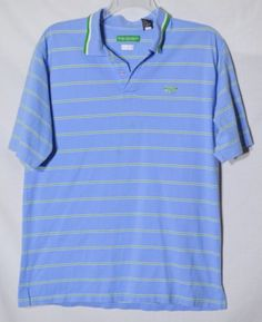 ENYCE-Mens-Blue-Green-White-Striped-Polo-Shirt-Large-Short-Sleeves-100-Cotton