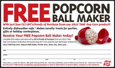 Perfect tool for all the fun popcorn ball recipes! Jolly Time Popcorn, Free Popcorn, Popcorn Balls, Holiday Centerpieces, Coupon Websites, Printable Coupons, Food And Drink, Fun, How To Make