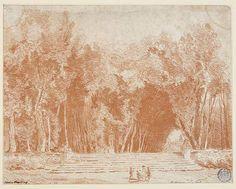 Hubert Robert, Les Allées du parc de Chanteloup, vers 1790, sanguine, Besançon, Musée des Beaux-Arts