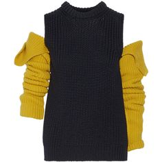 CALVIN KLEIN 205W39NYC Cutout wool sweater ($800) ❤ liked on Polyvore featuring tops, sweaters, dresses, yellow, knitwear, midnight blue, slim fit sweaters, thick sweaters, cut out sleeve sweater and yellow top
