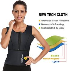 fc374d0b9b HOPLYNN Neoprene Sauna Sweat Waist Trainer Vest for Weight Loss with Zipper  for Women