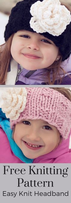 Free Knitting Pattern - This super easy knitting pattern makes a cozy headband and ear warmer! Perfect for kids, boys, girls, women, and men. Includes a crochet flower pattern too! By Posh Patterns.