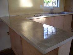 """2"""" thick concrete kitchen countertop and concrete center island"""