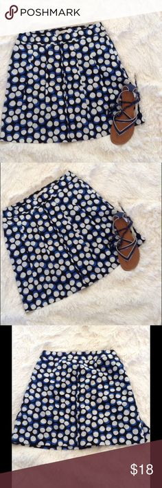"""LOFT Black Blue Tan Polka Dot Pleated Skirt 6P Lovely Loft linen blend skirt. Black background with bright blue, tan and white polka dots. Polyester lined. Pleated from waistband. Approximately 15"""" across waist and 18.5"""" long. LOFT Skirts"""