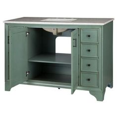 Home Decorators Collection Hazelton 49 in. Vanity in Antique Green with Marble Vanity Top in Beige-8203700610 - The Home Depot