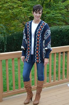 What I Wore Real Mom Style: Navy and Orange Aztec Cardigan, skinny jeans, brown knee high boots #realMomStyle