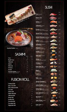 Fusion Sushi Japanese Restaurants - Manhattan Beach and Long Beach in California Menue Design, Food Menu Design, Restaurant Menu Design, Sushi Menu, Sushi Party, Japanese Menu, Japanese Sushi, Nigiri Sushi, Sashimi
