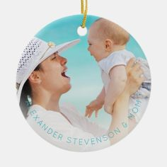 First Christmas together modern baby boy photo Ceramic Ornament