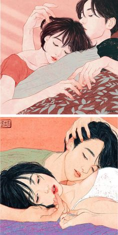 Korean artist Zipcy creates relationship drawings that explore a couple'sintimate moments.